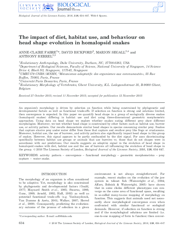 PDF) The impact of diet, habitat use, and behaviour on head