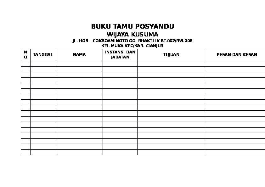 Doc Buku Tamu Posyandu Syifa Aulia Academia Edu