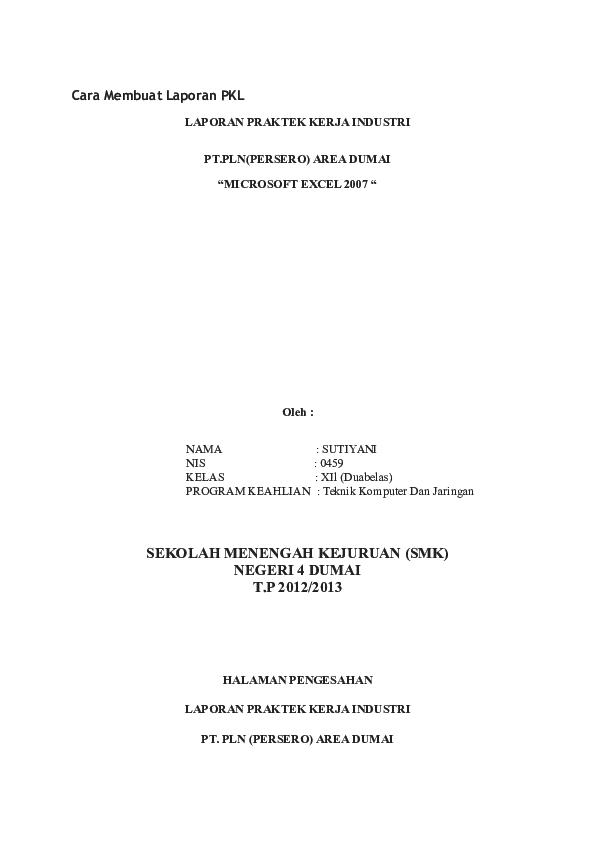 Doc Cara Membuat Laporan Pkl Wt Hidayat Academia Edu