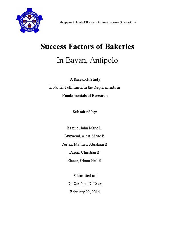 DOC) Success Factors of Bakeries | Mark Baguio - Academia edu