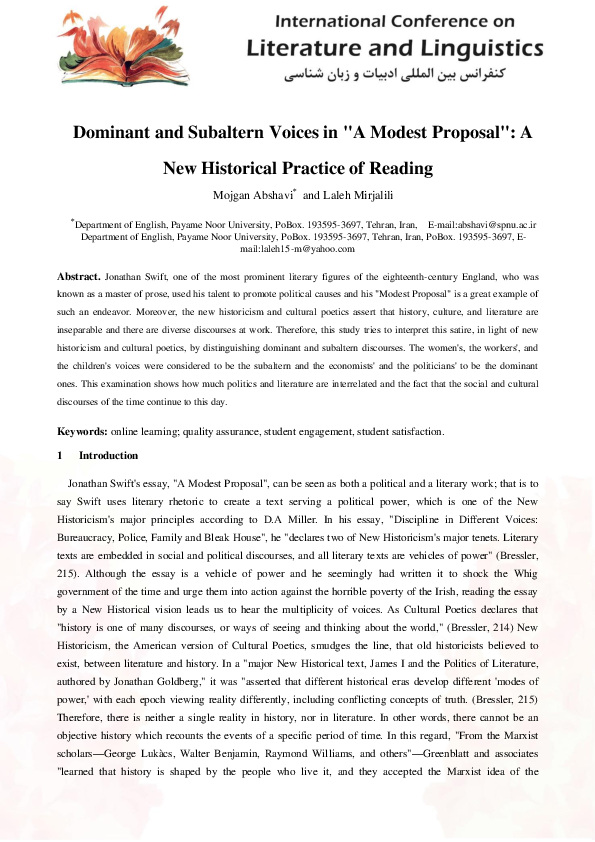 Pdf Dominant And Subaltern Voices In A Modest Proposal A New