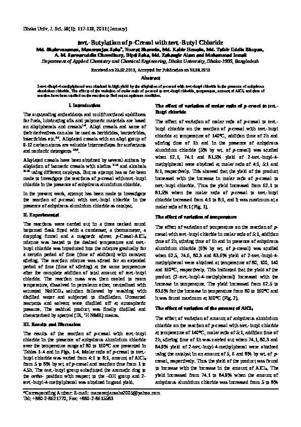 PDF) tert -Butylation of p-Cresol with tert -Butyl Chloride