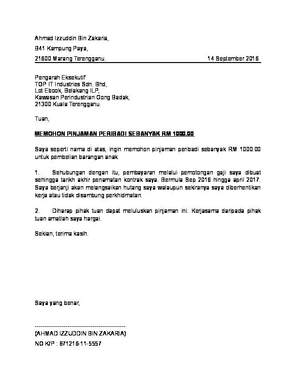 DOC) Surat pinjaman peribadi   Qai Faira - Academia edu