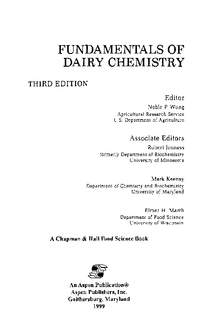 PDF) FUNDAMENTALS OF DAIRY CHEMISTRY 3 RD EDITION | Mohammad
