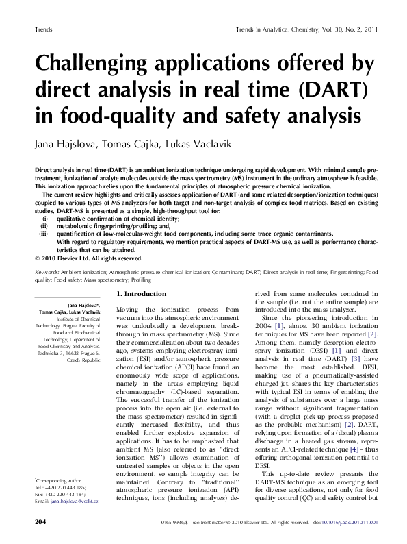 PDF) Challenging applications offered by direct analysis in real