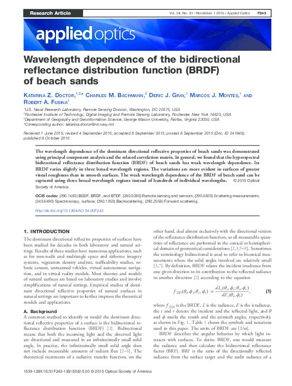 PDF) Wavelength dependence of the bidirectional reflectance
