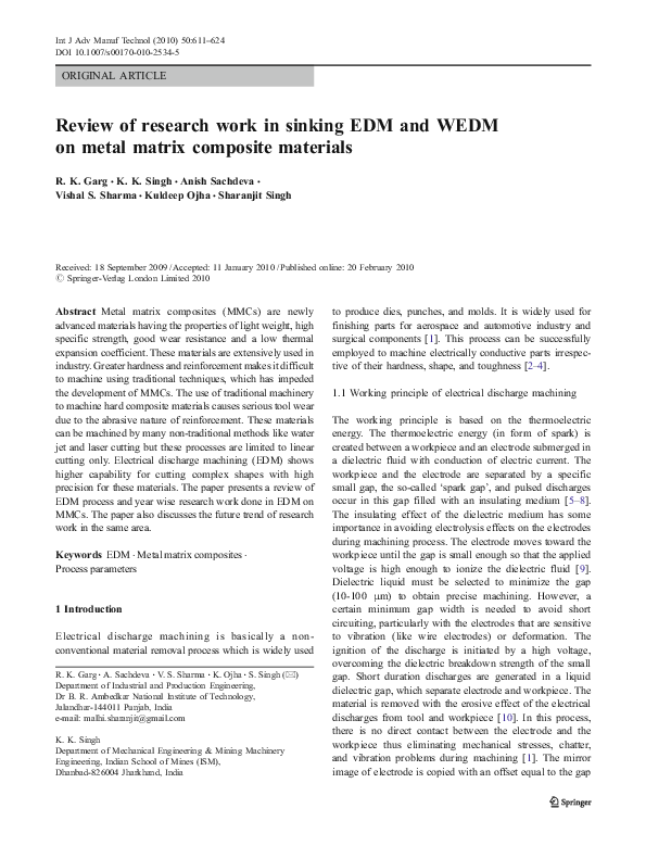 PDF) Review of research work in sinking EDM and WEDM on