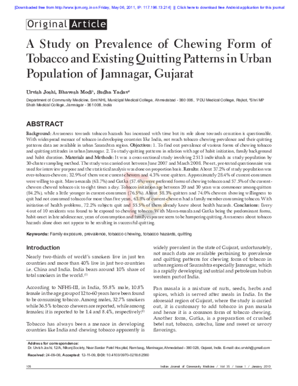PDF) A study on prevalence of chewing form of tobacco and