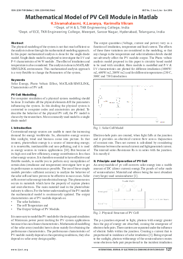 PDF) Mathematical Model of PV Cell Module in Matlab | vikram