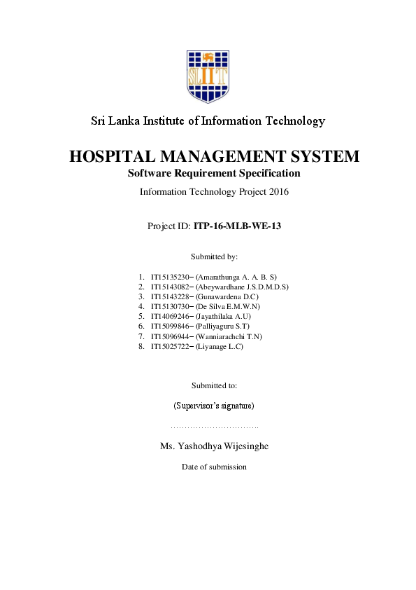 PDF) HOSPITAL MANAGEMENT SYSTEM Software Requirement Specification