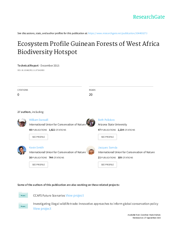 Pdf Ecosystem Profile Guinean Forests Of West Africa