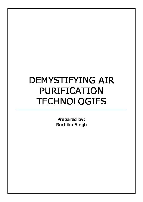 DEMYSTIFYING AIR PURIFICATION TECHNOLOGIES
