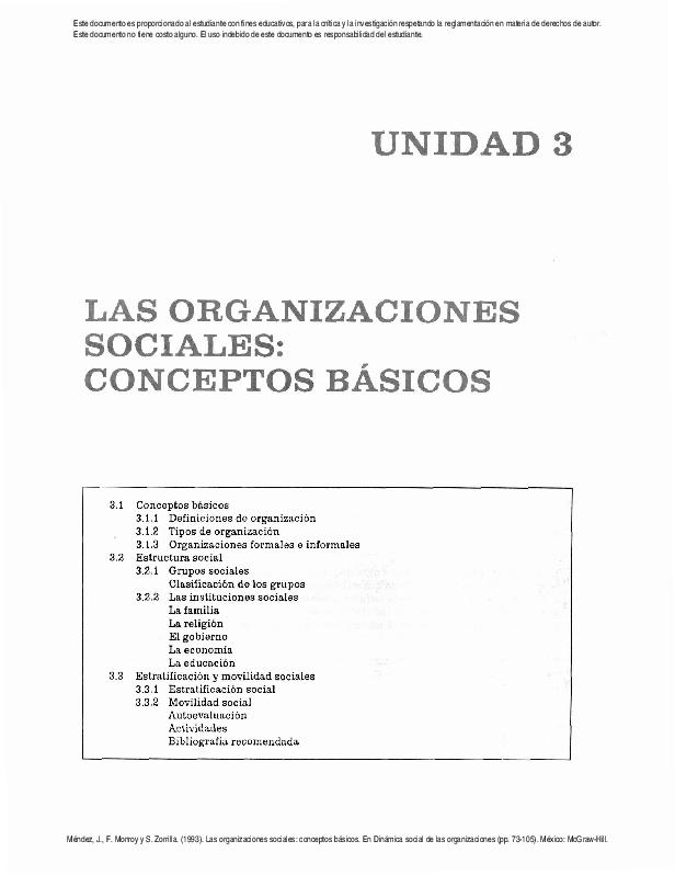 Pdf Las Organizaciones Sociales Conceptos Basicos Pdf