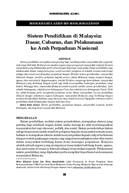 Pdf Sistem Pendidikan Di Malaysia Nurul Zukfli Academia Edu