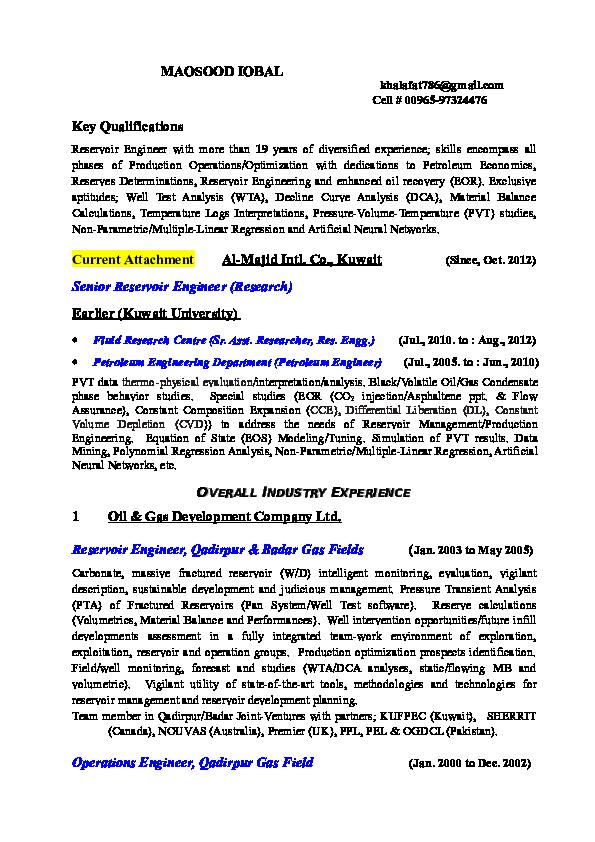MAQSOOD IQBAL Overall Industry Experience   Maqsood Iqbal - Academia edu