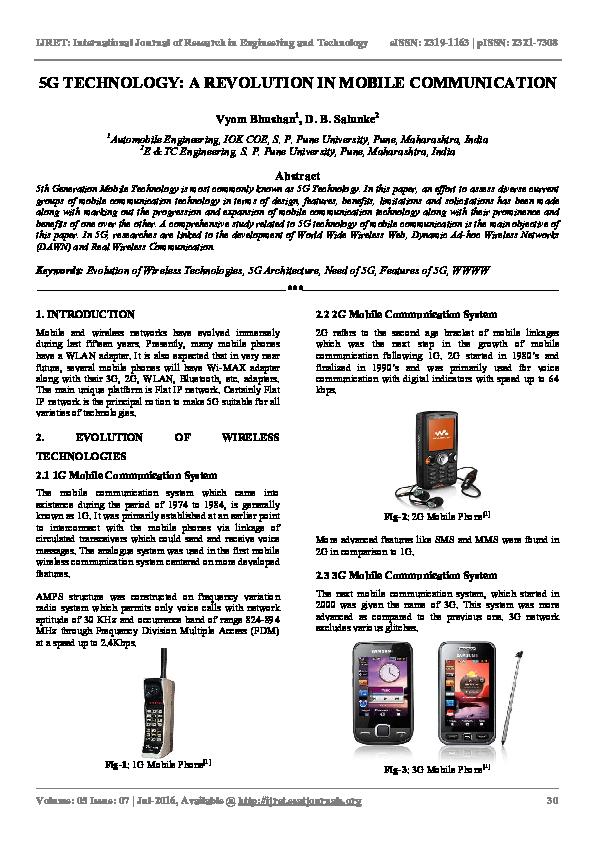 PDF) 5G TECHNOLOGY: A REVOLUTION IN MOBILE COMMUNICATION