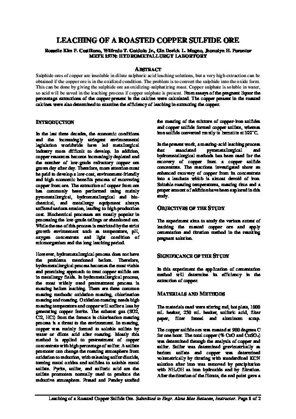 PDF) LEACHING OF A ROASTED COPPER SULFIDE ORE | Jhunalyn