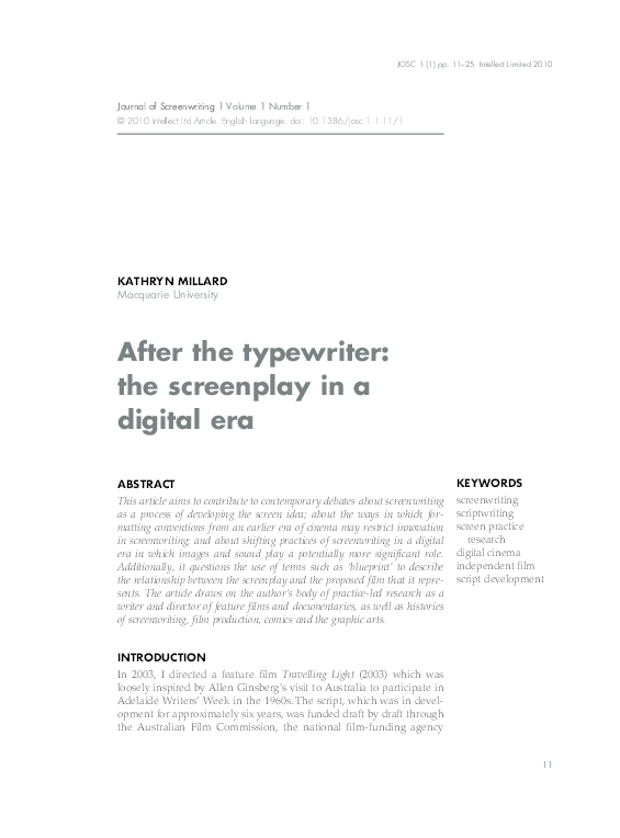 PDF) After the typewriter: the screenplay in a digital era