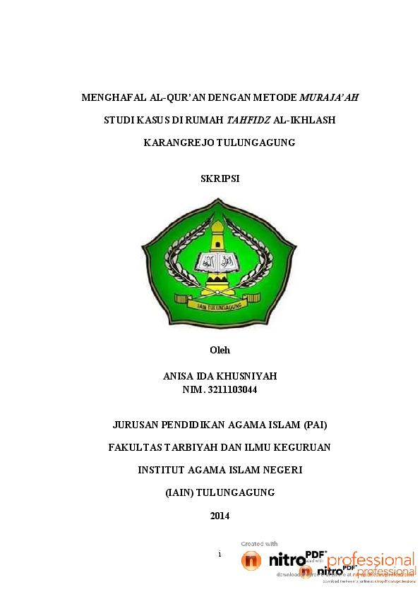 Pdf Skripsi Anisa Ida Khusniyah 2014 Iain Tulungagung Pai Ummi