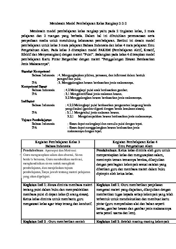 Doc Mendesain Model Pembelajaran Kelas Rangkap 2 2 2 Nabila C A H Y A Bulan Academia Edu