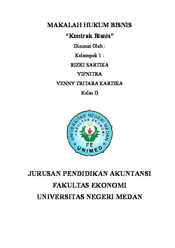 Doc Makalah Hukum Bisnis Kontrak Bisnis Snpm 2016 Academia Edu