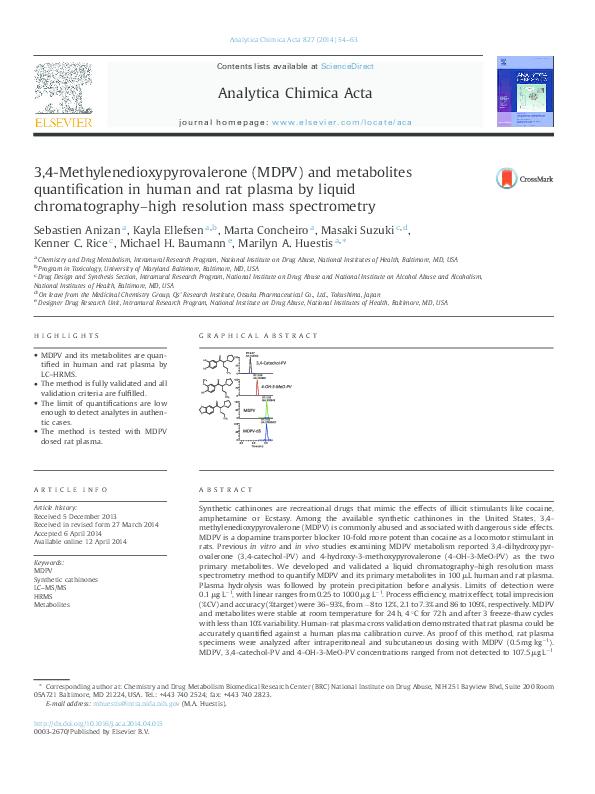 PDF) 3,4-Methylenedioxypyrovalerone (MDPV) and metabolites