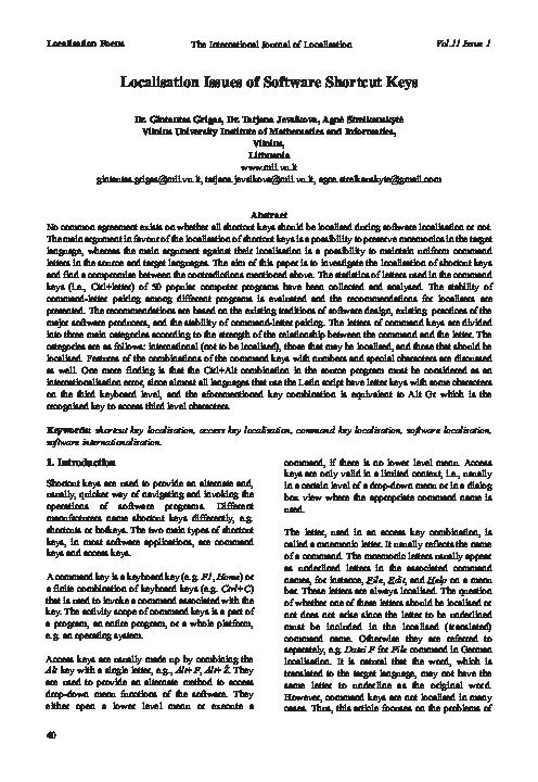 PDF) Localisation Issues of Software Shortcut Keys   Tatjana