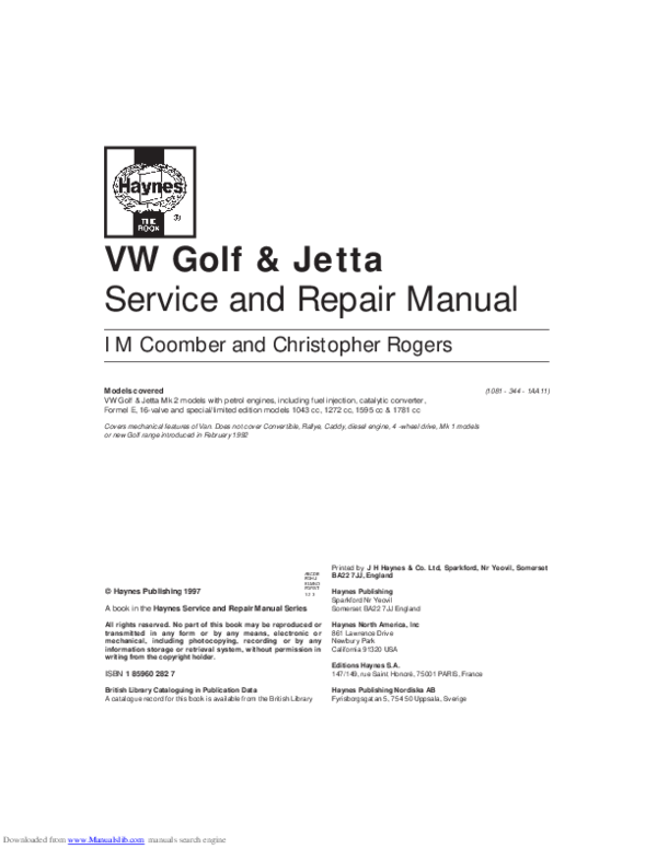 Pdf  Vw Golf  U0026 Jetta Service And Repair Manual