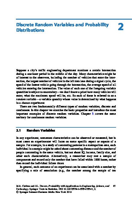 PDF) Discrete Random Variables and Probability Distributions