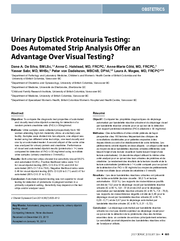 PDF) Urinary dipstick proteinuria testing: does automated