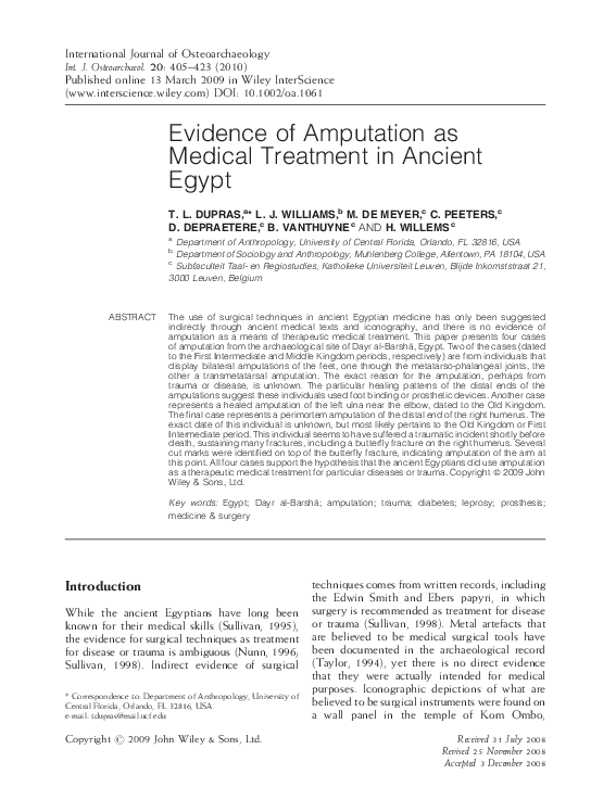 PDF) Evidence of amputation as medical treatment in ancient