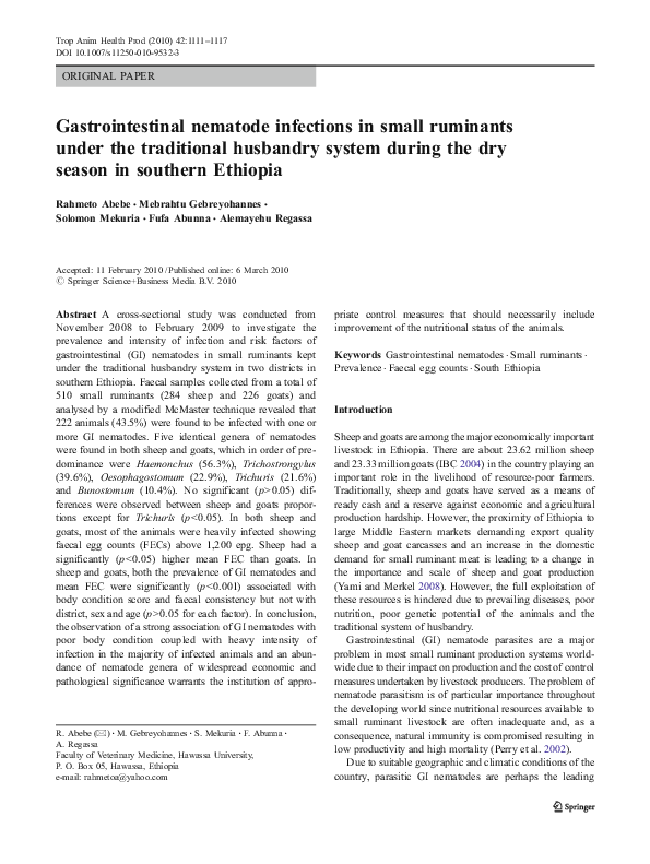 PDF) Gastrointestinal nematode infections in small ruminants under
