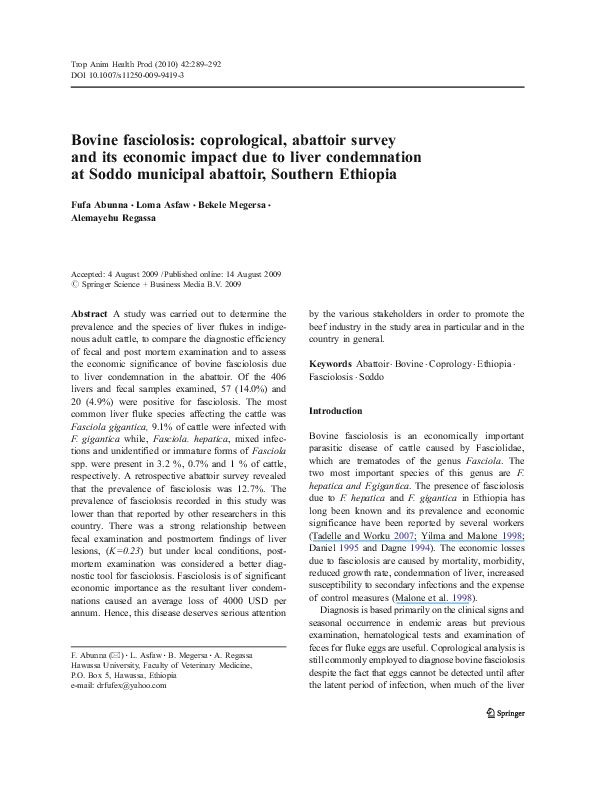 PDF) Bovine fasciolosis: coprological, abattoir survey and