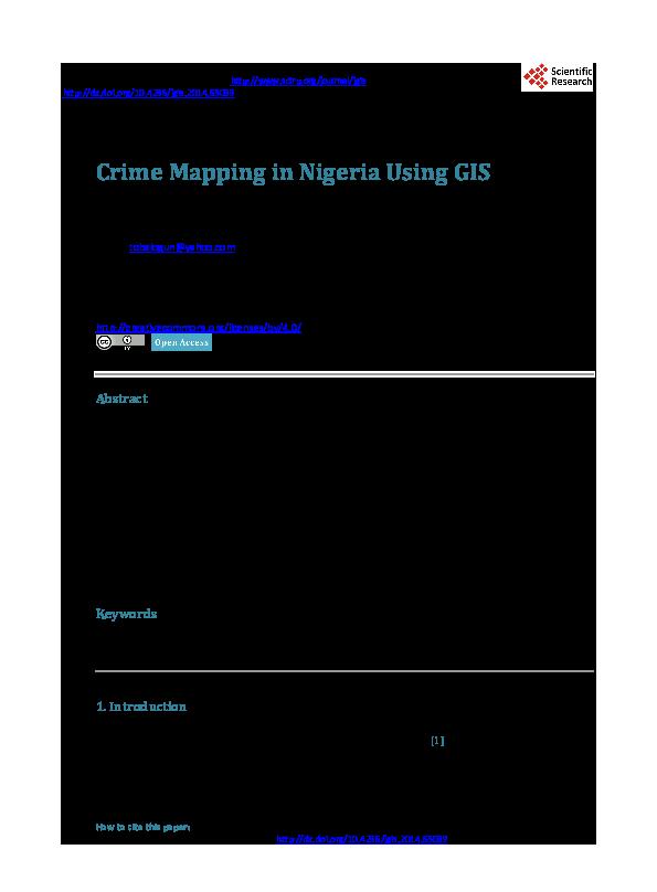 PDF) Crime Mapping in Nigeria Using GIS   Toju Balogun