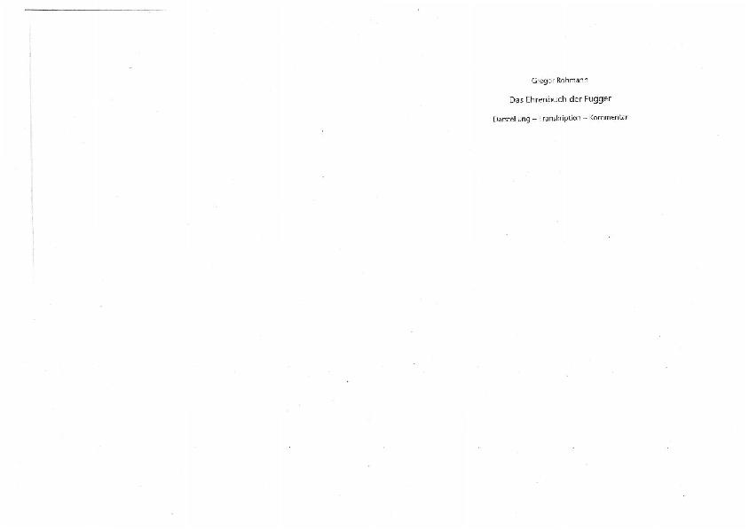 Das Ehrenbuch Der Fugger Darstellung Kommentar