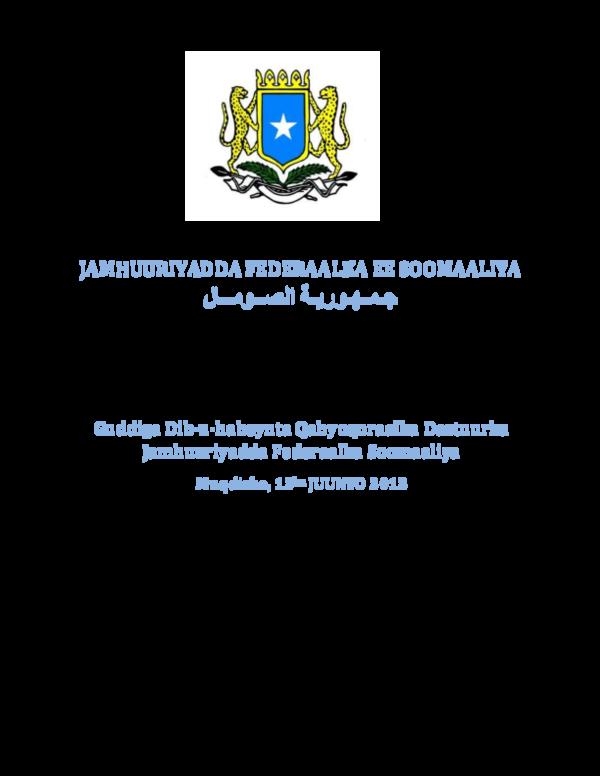 Dastuurka Soomaaliya Pdf