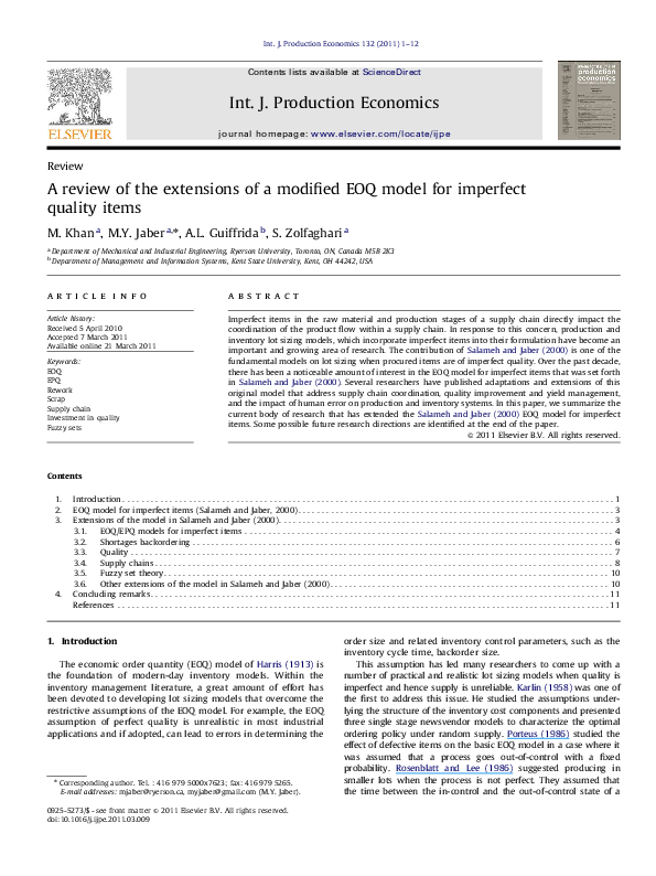 PDF) A review of the extensions of a modified EOQ model for