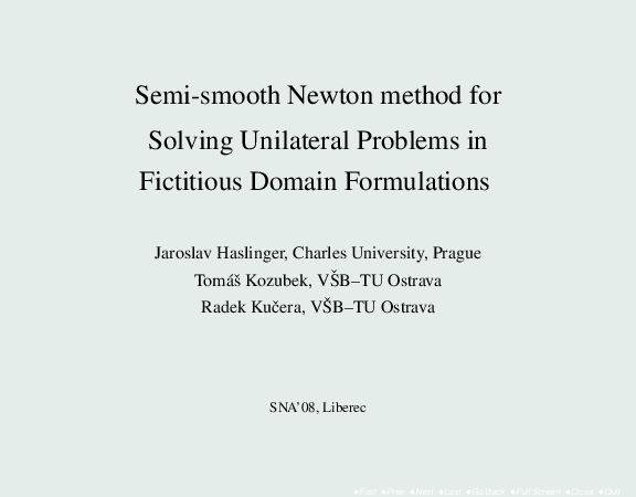 PDF) Semi-smooth Newton method for Solving Unilateral