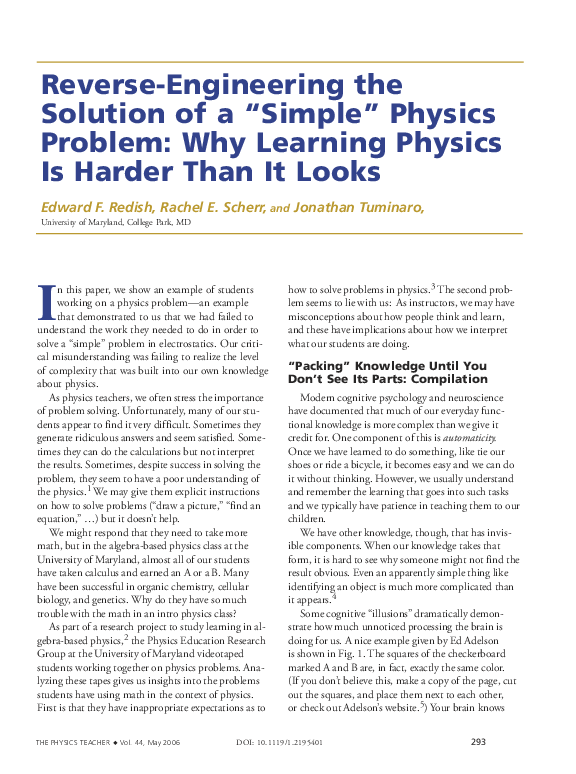 """PDF) Reverse-Engineering the Solution of a """"Simple"""" Physics Problem"""