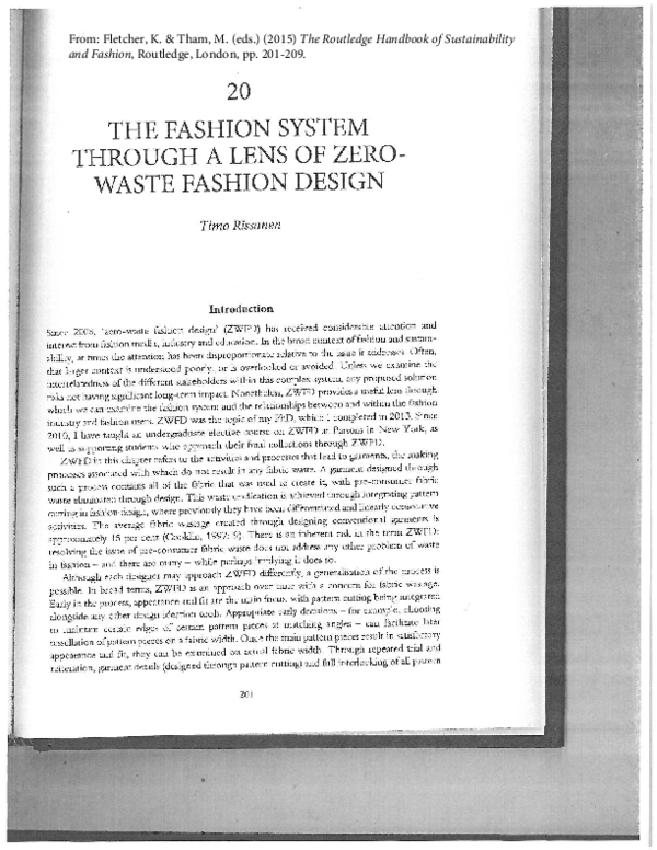 The Fashion System Through A Lens Of Zero Waste Fashion Design Timo Rissanen Academia Edu