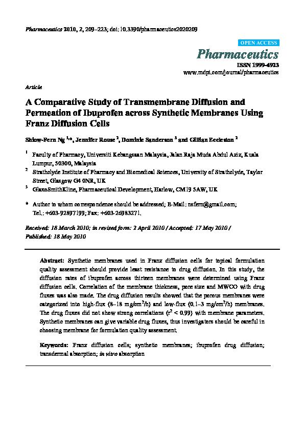 PDF) A Comparative Study of Transmembrane Diffusion and