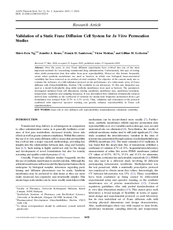 PDF) Validation of a Static Franz Diffusion Cell System for