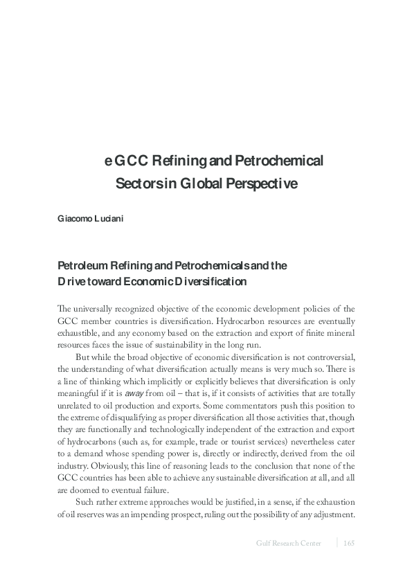 PDF) e GCC Refining and Petrochemical Sectors in Global Perspective