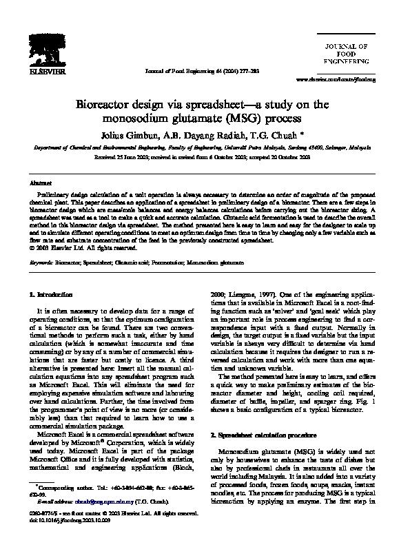 PDF) Bioreactor design via spreadsheet––a study on the monosodium