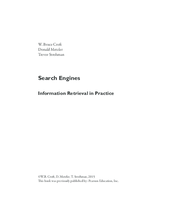 Search Engines Information Retrieval In Practice Pdf