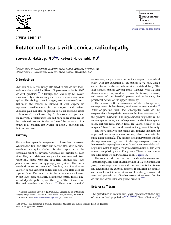 PDF) Rotator cuff tears with cervical radiculopathy | Steven