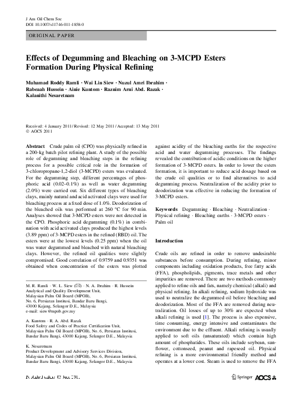 Effects Of Degumming And Bleaching On 3 MCPD Esters Formation During