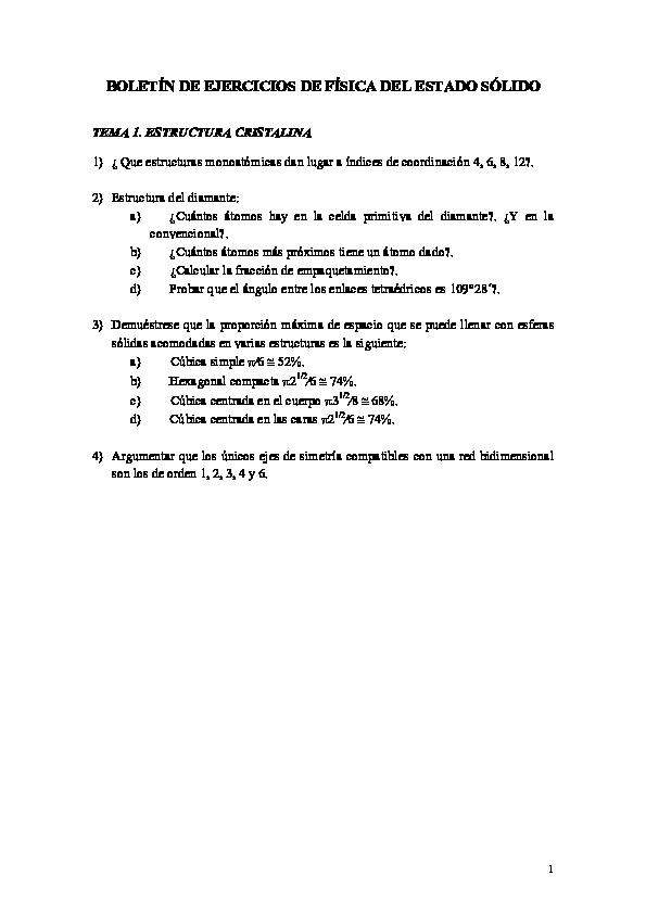 Pdf Boletín De Ejercicios De Física Del Estado Sólido