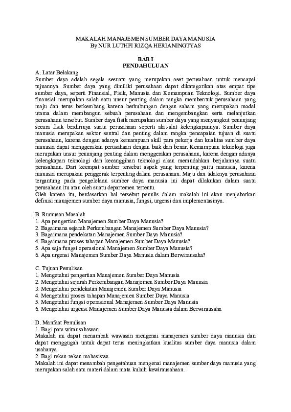 Doc Makalah Manajemen Sumber Daya Manusia By Nur Luthfi Rizqa Herianingtyas Sukmana Metro Academia Edu