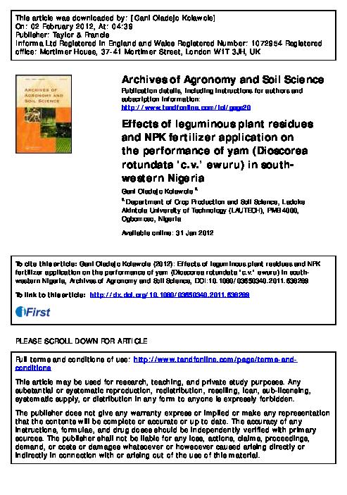 PDF) Effects of leguminous plant residues and NPK fertilizer
